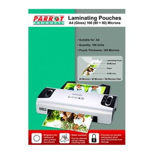 Laminating Pouch to fit A4 (220x310mm, 80 micron, box of 100) Suitable for: A4 Quantity: 100 Units Pouch Thickness: 160 Microns Brightens the colours of your printed documents Water resistant Can be cleaned using a damp cloth Pouches are durable and protect all of your documents from damage
