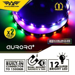 Armaggeddon Infineon/Nimitz Aurora RGB 30cm Light Strip For Gaming Case (2 Pack)