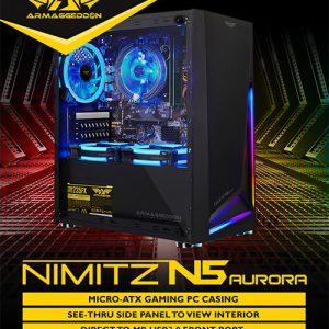 Armaggeddon Nimitz N5 Aurora Micro-ATX Gaming Case (No Fans) - Black